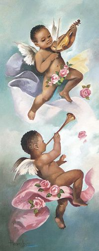 Two beautiful cherubs playing a violin and a trumpet (left panel)