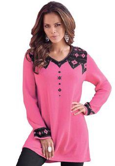 Roamans Women's Plus Size Fondue Sweater Tunic - List price: $61.56 Price: $46.56 Saving: $15.00 (24%)