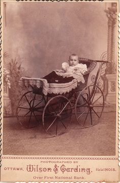 This scalloped edged cabinet card captures a baby sitting in a carriage in the studio of J. Wilson & August F. Gerding, in Ottawa, Illinois. The attentive baby seems to be intensely surveying the studio. A blanket sits neatly atop the carriage Victorian Photos, Antique Photos, Vintage Pictures, Vintage Photographs, Old Pictures, Vintage Images, Old Photos, Vintage Pram, Vintage Stroller