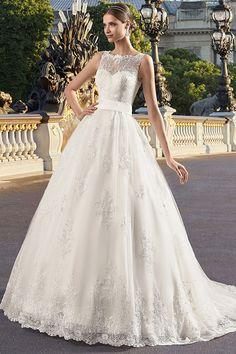 Gorgeous Tulle Square Neckline A-line Wedding Dress With Lace Appliques & Belt