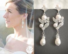 3310dc517 Wedding Earrings, Bridal Earrings, Swarovski Rhinestone & Pearl Cluster Chandelier  Earrings, Leaf Filigree Danlge Stud Earrings, CORALIE