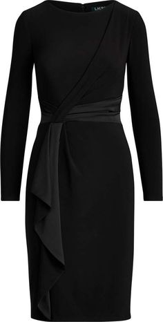 Ralph Lauren Satin-Trim Long-Sleeve Dress Source by ShopStyle dresses classy Dress Outfits, Casual Dresses, Short Dresses, Fashion Dresses, Dresses For Work, Sexy Dresses, Ladies Outfits, Formal Dresses, Work Dresses With Sleeves