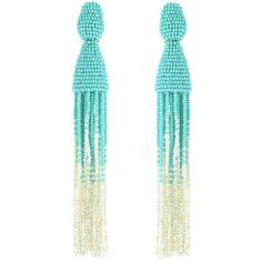 Oscar de la Renta Celeste Ombré Beaded Long Tassel Earrings ($395) ❤ liked on Polyvore featuring jewelry, earrings, tassel earrings, beaded tassel earrings, blue earrings, clip-on earrings and long clip on earrings