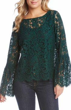 Karen Kane Women's Bell Sleeve Lace Top - Emerald - M Hijab Dress Party, Long Sleeve Outfits, Looks Plus Size, Designs For Dresses, Fashion Over 50, Blouse Styles, Lace Tops, Denim Outfit, Women's Summer Fashion