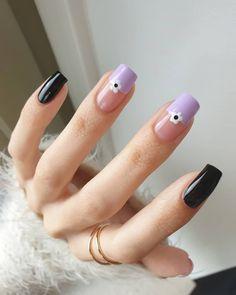 Cute Black Nails, Black And Nude Nails, Black Acrylic Nails, Cute Nails, Short Nail Designs, Nail Designs Spring, Cool Nail Designs, Acrylic Nail Designs, Spring Nails