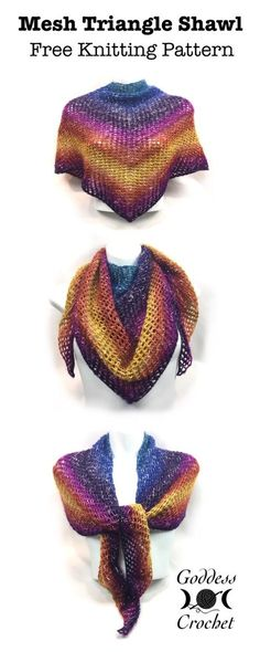 Knit an easy, vibrant shawl with just one ball of yarn! Knit an easy, vibrant shawl with just one ball of yarn! Free Knit Shawl Patterns, Crochet Patterns, Scarf Patterns, Loom Patterns, Stitch Patterns, Loom Knitting, Free Knitting, Beginner Knitting, Knitting Machine
