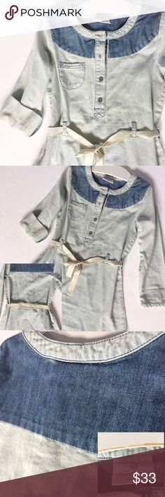 110/5-6X Hanna Andersson Chambray Dress My daughter received tons of compliments even though it is big on her • Worn once • Like new • Another one of the many HA dresses she won't wear again🙈• Size says 5-6X the website says can fit up to 4yrs-6yrs • Hanna Andersson Dresses Casual