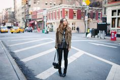 Mademoiselle jacket, vintage tshirt, J Brand leather skinny trousers, Barbara Bui boots, Proenza Schouler PS11