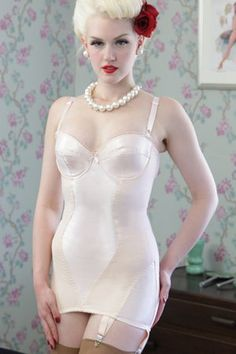 What Katie Did L3007 Glamour Shape Wear Vintage Peach Corselette $106.00