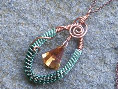 Ombre copper coiled necklace with 2 colors of green wire and a stunning Swarovski crystal