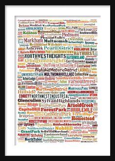 Portland Map  Typography Neighborhoods of by ParisPhotoShop, $12.95