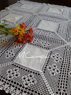 This Pin was discovered by Ter Free Crochet Doily Patterns, Crochet Fabric, Crochet Borders, Crochet Tablecloth, Crochet Home, Crochet Doilies, Knit Crochet, Filet Crochet, Vintage Table Linens