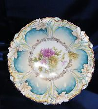 Vintage Porcelain Bowl RS Prussia Yellow Mums Iris Mold Handpainted Gold & Blue