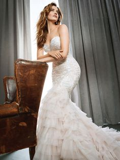 Kenneth Winston Style 1693 | shimmering wedding dress with sweetheart neckline and tiered-organza skirt | luxurious bridal gown