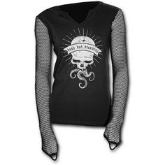 Dead but Dreaming gothic top for women http://www.the-black-angel.com/gothic-longsleeves-women/1329-dead-but-dreaming-mesh-sleeves.html