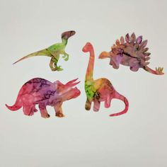Dinosaurs Pre-fused and laser cut tie dye by RedRoosterLaserArts