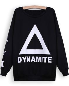 Black Long Sleeve Triangle DYNAMITE Print Sweatshirt EUR€16.24
