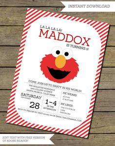 Printable Instant Download Elmo Invitation by InstantPartyPlanner