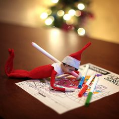 Elf on the Shelf - ideas to place him.  I love elf on the shelf and this year is going to be great with the kids.  :)