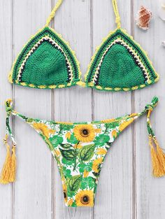 Sun Flower Print Crocheted Bikini Set GREEN: Bikinis | ZAFUL | http://www.zaful.com/sun-flower-print-crocheted-bikini-set-p_181973.html