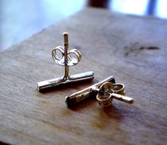 Reclaimed Sterling Silver Linear Line Stud Earrings by TheLovelySmith, $20.00