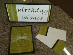 Layered Invitation with tulle bow; Matching Birthday Wishes Sign and Note Cards.
