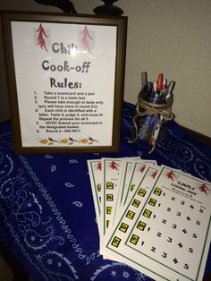 Chili cook off rules and scorecards