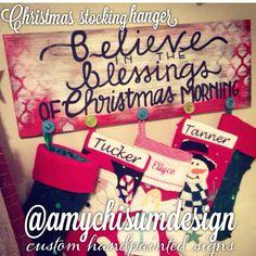 AmyChisumDesign custom handpainted signs! Christmas stocking hanger! Follow on Instagram @amychisumdesign and on Facebook!