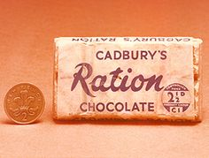 Cadbury's Ration Chocolate - Dairy Milk production had to stop during World War 2 when the government banned manufacturers from using fresh milk. Instead there was Ration Chocolate, made with dried skimmed milk powder. British Chocolate, History Of Chocolate, Cadbury Chocolate, Chocolate Heaven, Vintage Advertisements, Vintage Ads, Vintage Food, Vintage Items, Schokolade
