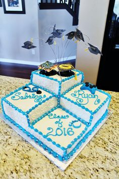 Got the idea from Pintrest (Thank you!) and wanted to share my version of the cake I made for my twins graduation! I added a picture of their own graduation cap designs to a plastic grad cap, and made flying caps to go above the cake.  Used fondant to create a stethescope and game controler (to reflect their chosen college careers).  Inside, I marbled white and blue cake together.  And, added simple  piping swirls to the sides, I liked the way it filled in the big 'plain' spots so elegantly!