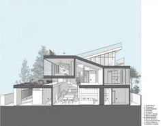 Terrace design, roof design, exterior design, architectural section, archit Terrace Design, Roof Design, Exterior Design, Design Your Own Home, Dream Home Design, House Design, Sectional Perspective, Build My Own House, Modern Floor Plans