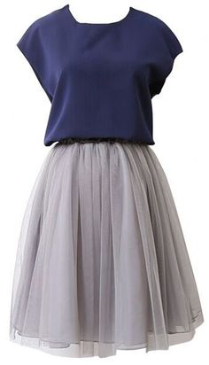 Navy and grey tulle skirt bridesmaid dress - 25 Bridesmaids Dresses Under $50 via simpledaync.com