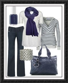 I love blue and white classic looking outfits. Just wish the purse had an over the shoulder strap.