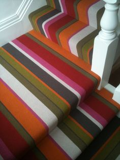 Crucial trading - audrey stripe - practical, hardwearing and extremely cool! Great for families - buy from Dible and Roy 01225 862320 Carpet Stair Treads, Carpet Stairs, Hall Carpet, Rugs On Carpet, Striped Carpets, Alternative Flooring, Staircase Makeover, Hallway Storage, Berber Carpet