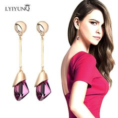 Austrian Crystal Dangling Pendant Earrings (High Quality)
