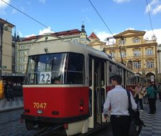 NEW blog post! Prague locals know that Tram 22 is not just any old tram... it's THE most scenic route to see Prague's famous places and local neighborhoods... DIY Prague: Tour the city by Tram 22 - Travel Tips  Notice the trdelník stand in the background – Yum!