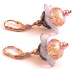 Lucite flower earrings in blue and peach by MiSuenos on Etsy, $10.00