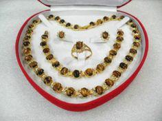 women's jewelry tiger's eye gem yellow gold Earring Bracelet Necklace Ring +box