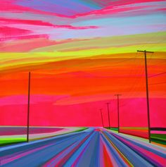 """Rural Roadways by Grant Haffner (908×914) - he has all kinds of pics with the super - bright neon colors like this, if anyone is interested (just do a google search for """"Grant Haffner"""" and you should find plenty!) - colorful"""