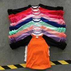 ee46ac044c8 Latest girls top blouse design 2016 wholesale icing ruffle raglan shirt new  model grey blouse T-shirts