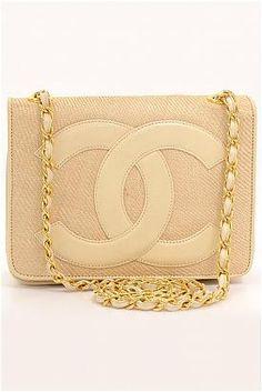 Chanel Beige Straw x Leather Shoulder Bag - Enviius