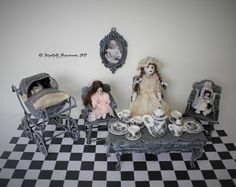 Dollhouse Miniature Nursery Ghost Creepy Girl Victorian Tea Party with Spooky Dolls and Pram in 1:12 scale by NightfallMiniatures on Etsy https://www.etsy.com/listing/538963716/dollhouse-miniature-nursery-ghost-creepy