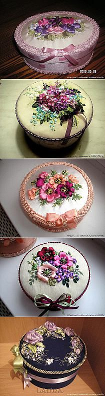 Wonderful Ribbon Embroidery Flowers by Hand Ideas. Enchanting Ribbon Embroidery Flowers by Hand Ideas. Rose Embroidery, Silk Ribbon Embroidery, Embroidery Designs, Ribbon Art, Ribbon Crafts, Silk Flowers, Fabric Flowers, Box Creative, Band Kunst
