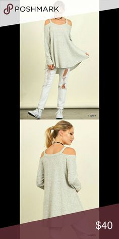 Cold shoulder knit ribbed top Heather grey flowy cold shoulder top/tunic.  Perfect with distressed jeans or leggings and boots.  Comfortable.     60/40  cotton/poly  COLOR:  HEATHER GREY  ✔Bundle for 10% discount  ❌No Trades   ❌No PP Tops Tunics
