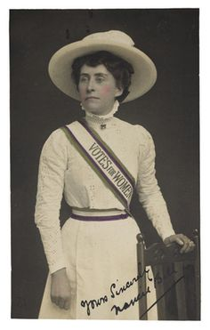 Full image caption  The 'Suffragette Look' as worn by Norah Balls. The suffragette uniform was introduced in 1908. During the winter months members of the WSPU were required to wear 'full dress uniform' of a ' white frock with regalia and colours' to all indoor meetings and breakfast receptions. During the summer months this uniform was also worn to all outdoor processions and rallies.     Artist/Photographer/Maker  Women's Social and Political Union