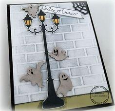 LLEGARON LOS FANTASMAS- Street Lamp So Suzy Stamps, Brick Wall Embossing Folder, Stampin Up embossing folders, Powder Puff Chalk Ink, Halloween cards, ghost, ghosts,