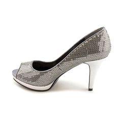 Nine West Danee Peep Toe Platforms Heels Shoes Silver Womens - http://cheune.com/a/16579874511808157