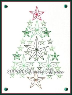 Christmas Tree Paper Embroidery Pattern for Greeting by Darse, $1.50