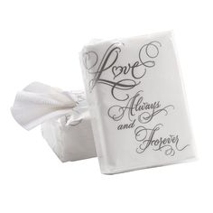 "1 per table for us criers?""Love"" Wedding Facial Tissue Packs - OrientalTrading.com"
