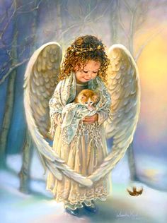 """Sandra Kuck """"WINTER ANGEL""""...I also have this print hanging in my family room, it reminds me of one of my granddaughters."""